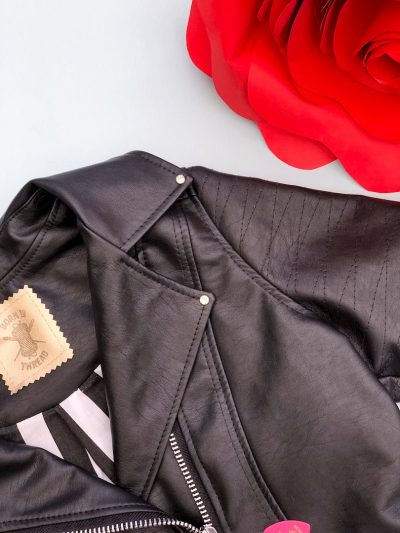 Handmade Ladies Cropped Biker Jacket With Customised Back Patch