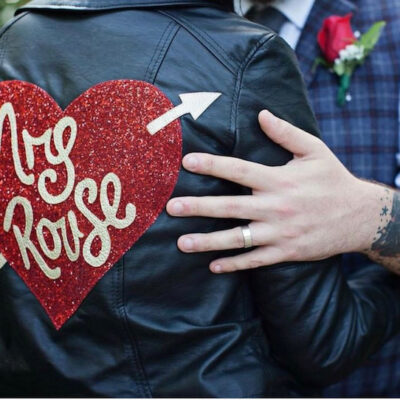 HANDMADE LEATHER LOOK BIKER JACKET WITH CUSTOMISED BACK PATCH