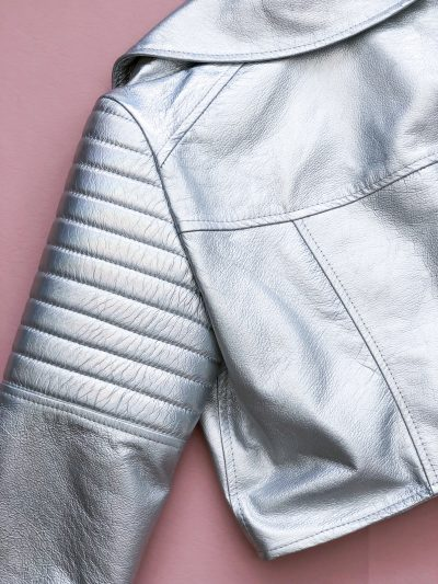 Iridescent Diamond Cropped Leather Biker Jacket