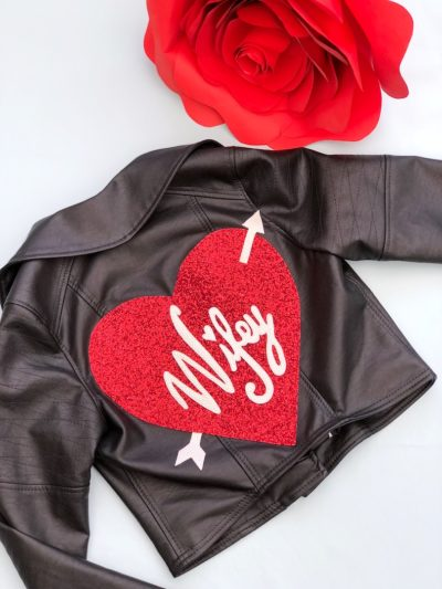 Red glitter custom heart patch for a jacket Born to Thread