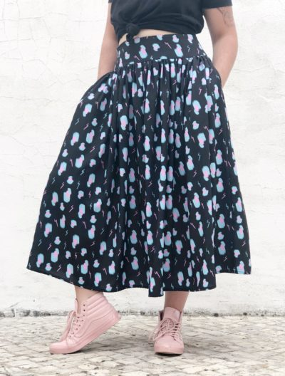 Electric leopard gathered skirt