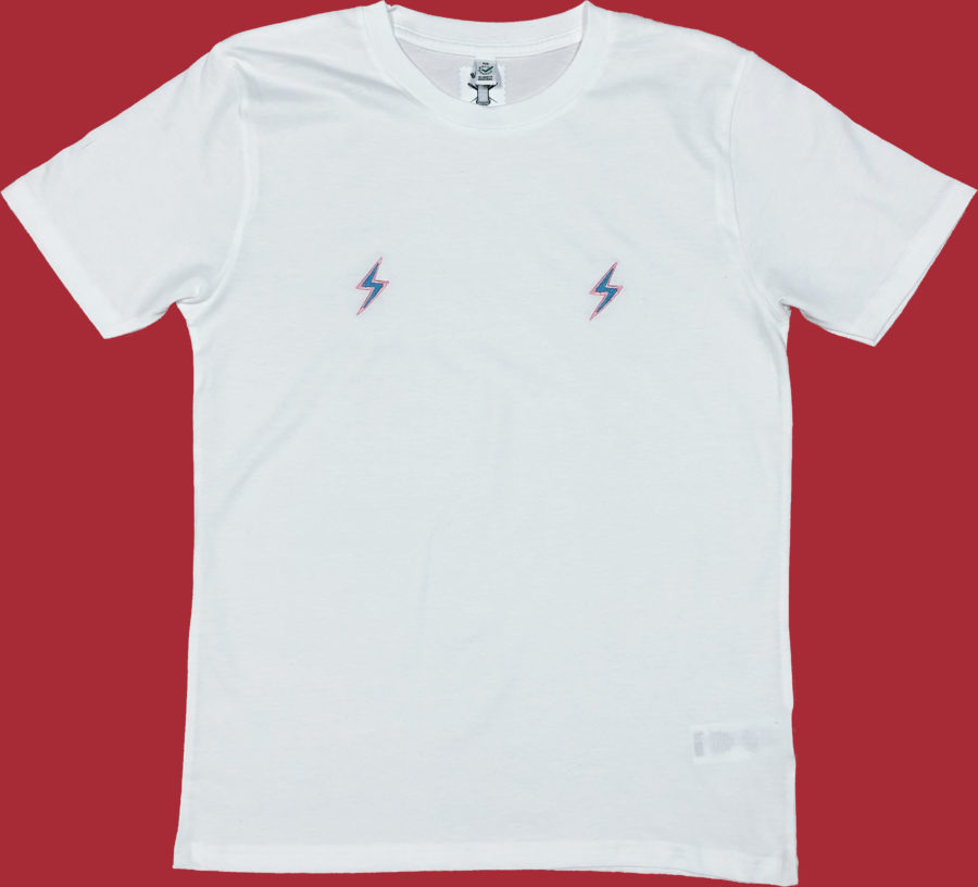 White organic lightning bolt tshirt