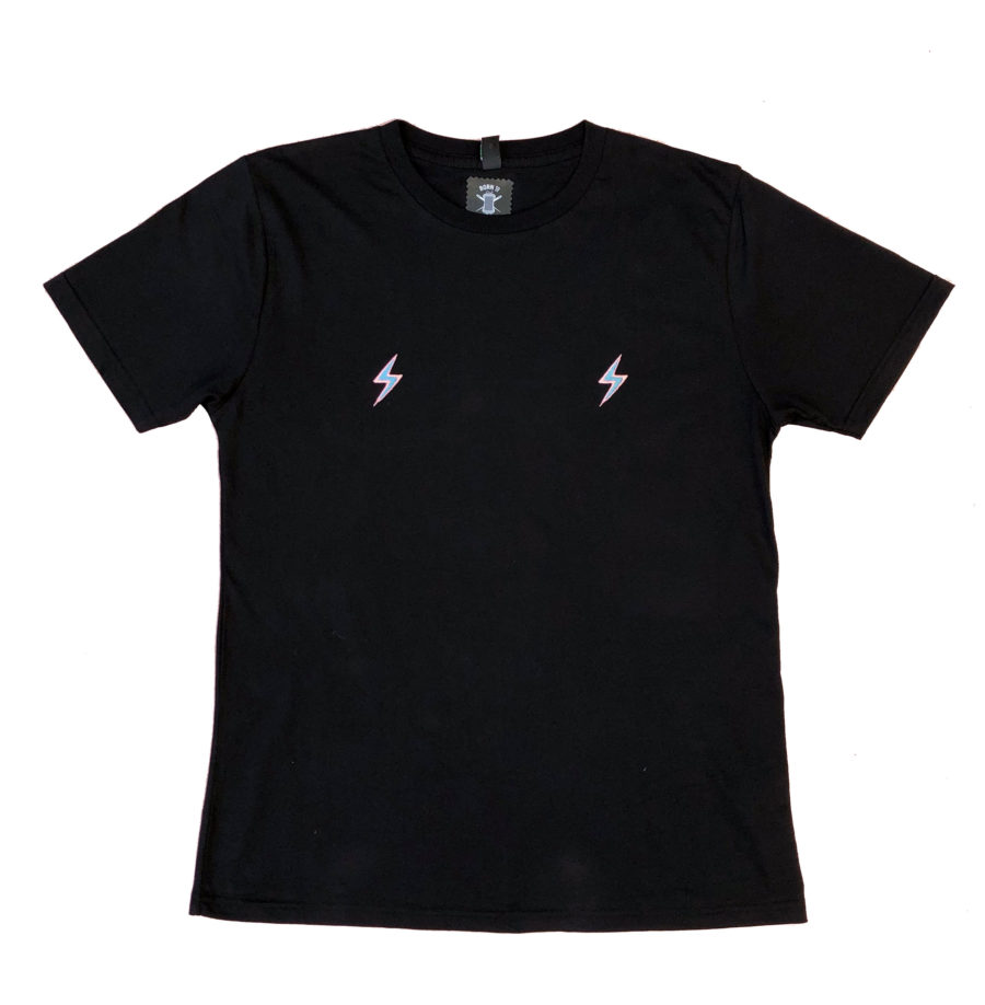 Black organic lightning bolt tshirt