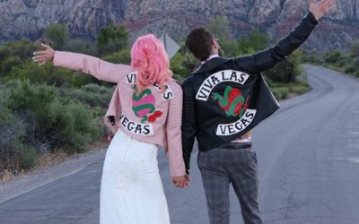 Matching Personlised Leather Jackets : Las Vegas wedding