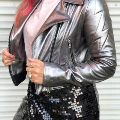 sliver leather jacket